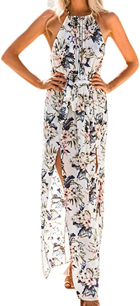 Women Dresses Summer Halter O Neck Loose Sleeveless Chiffon Print Boho Evening Party Beach Floral Long Maxi Dress