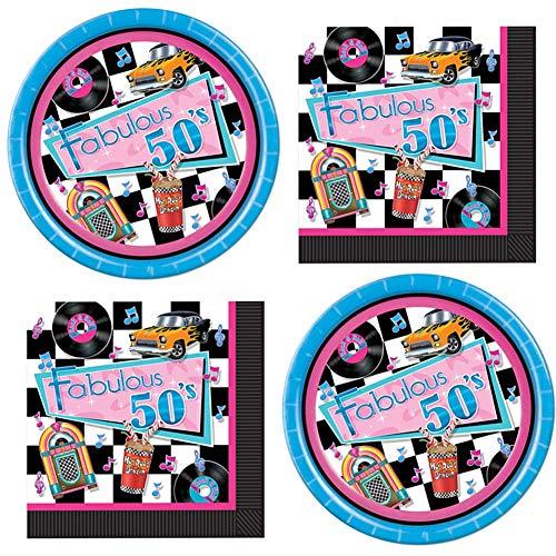 50's Oldies Theme Sock Hop Party Supplies Plates Napkins for 32 Guests Set Kit Bundle