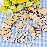 300 Stück Holzherzen Scheiben Naturholzscheiben unlackiert für DIY Handwerk Verzierungen(Vier Größe:1cm 2cm 3cm 4cm - 2