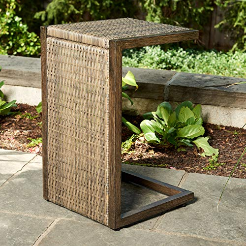 Quality Outdoor Living 65-YZST01 Santa Monica C-Shape Side Table, Brown Wicker
