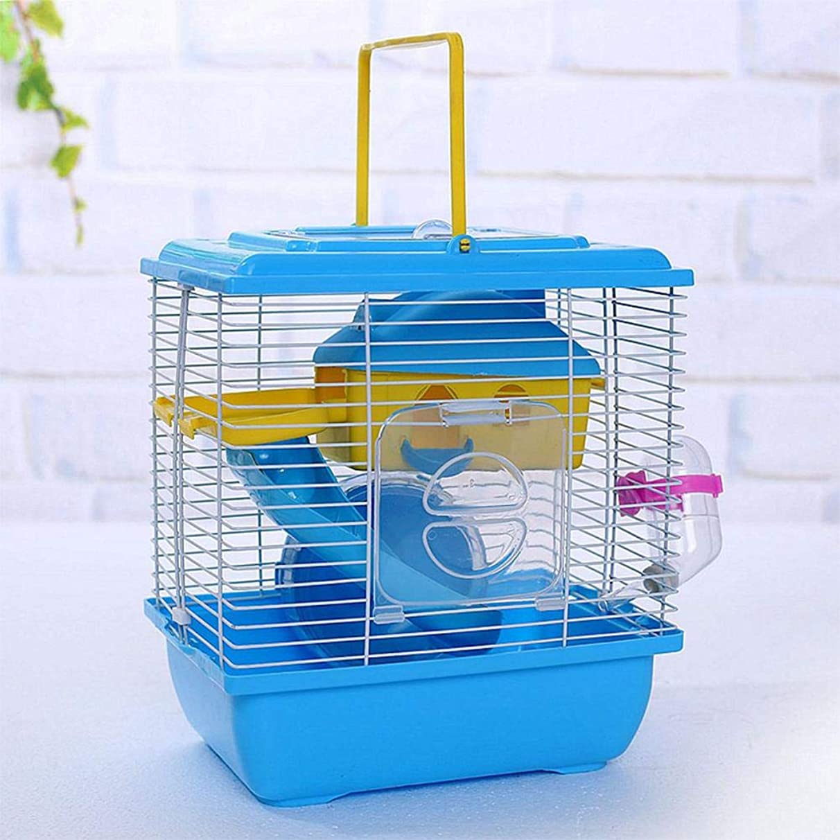 S-World 4Home Hamster Cage - AsyPets Pet Cage Hamster Cottage with Transparent Skylight Double Layer House for Hamster Golden Hamster Pet
