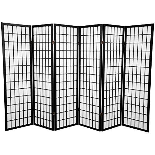SQUARE FURNITURE Panel Shoji Screen Room Divider 6 Panel Black