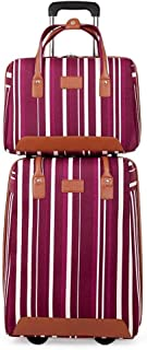 LFSP Luggage Wheels Hardside Suitcase Fashion Classic Trolley Suitcase Trolley Luggage Ms. Case Leisure Colored Stripes Suitcase 20 Inches Lightweight Hand Luggage Travel Essentials (Color : Purple)