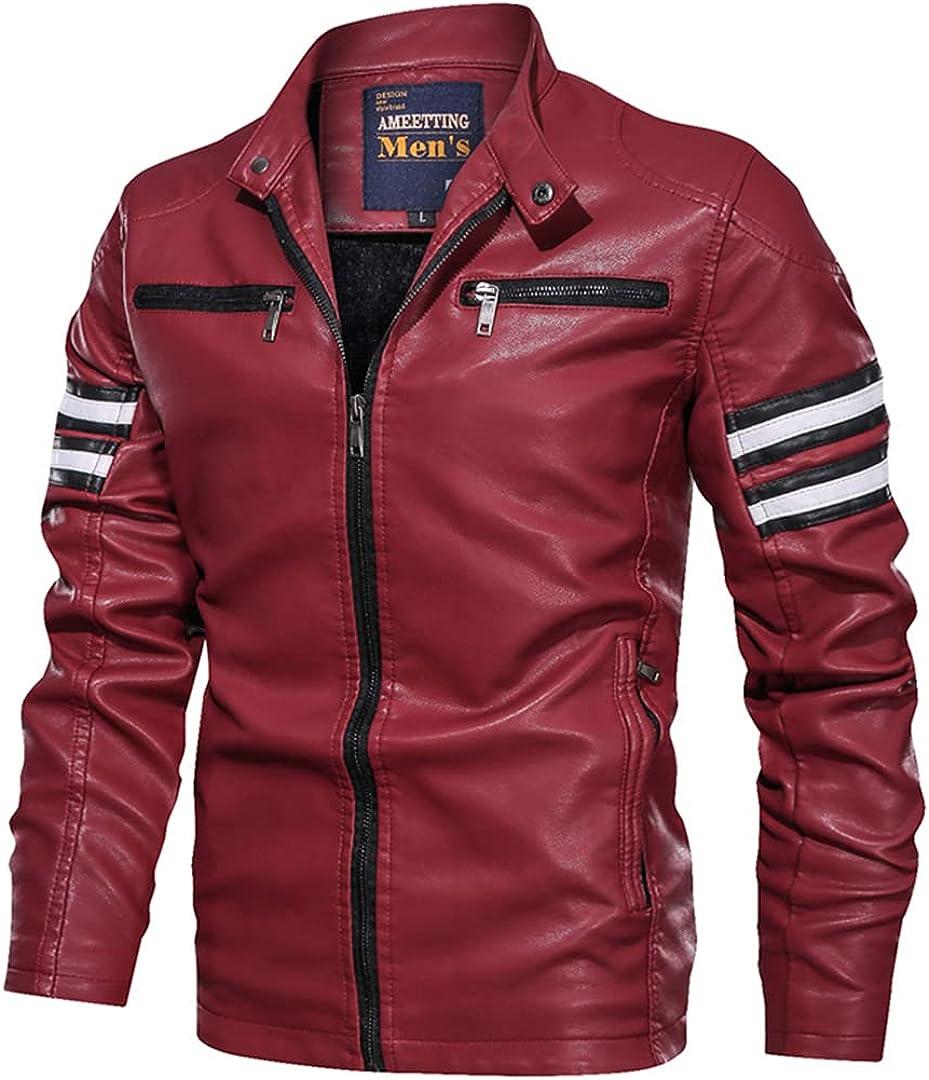 Men's Pilot Leather Jacket Jacket Autumn And Winter Fleece Keep Warm Water Proof Pu Biker Vintage Coat