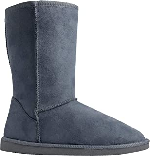 Women's Suede Faux Fur Mid-Calf Classic Winter Boots Rubber Sole