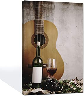 LevvArts - Vintage Canvas Prints Wall Art Red Wine and Acoustic Guitar Picture for Living Room Kitchen Pub Bar Wall Decor Framed Artwork Ready to Hang