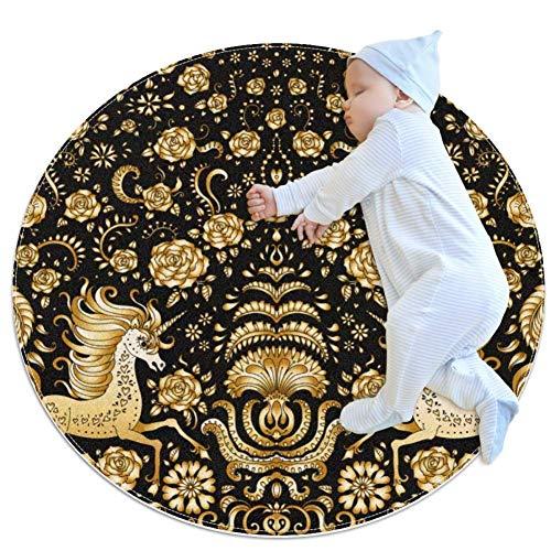 TIZORAX Zottelteppich Gold Einhorn Rund Teppich Bodenmatte für Wohnzimmer Schlafzimmer Kinderzimmer Heimdekoration, Polyester, multi, 100x100cm/39.4x39.4IN