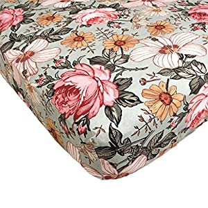 The Mini Scout Floral Sheet Crib – Durable Baby Girl Mattress Sheets – Mini Size Fitted Nursery Bed Cover – Digitally Printed Floral Cotton Bedding Vibrant Patterns with Flower Designs (Sea Foam)