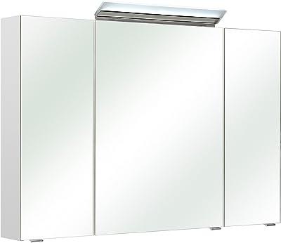"""3D-Spiegelschrank Badhängeschrank Spiegel Badspiegel /""""Malawi I/"""" weiß 60 cm"""