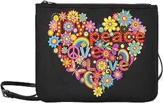 Joy Peace Love Rainbow Freedom Flowers Pattern Custom High-grade Nylon Slim Clutch Bag Cross-body Bag Shoulder Bag