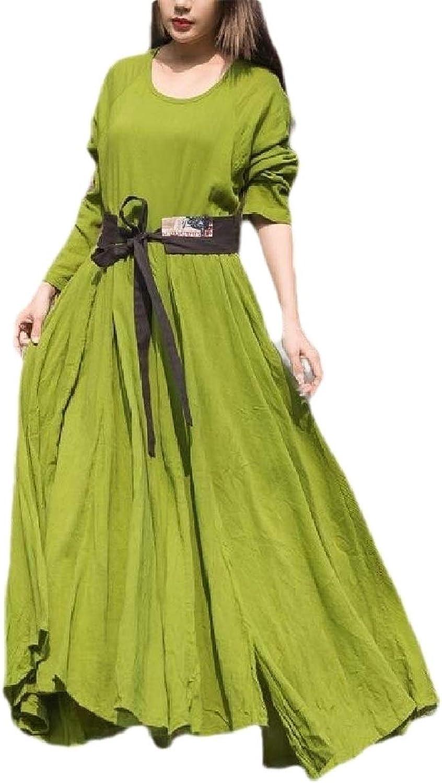 Yhuuuuudd Women Elegant Long Sleeve Solid Loose Maxi Dress Shirt Dress