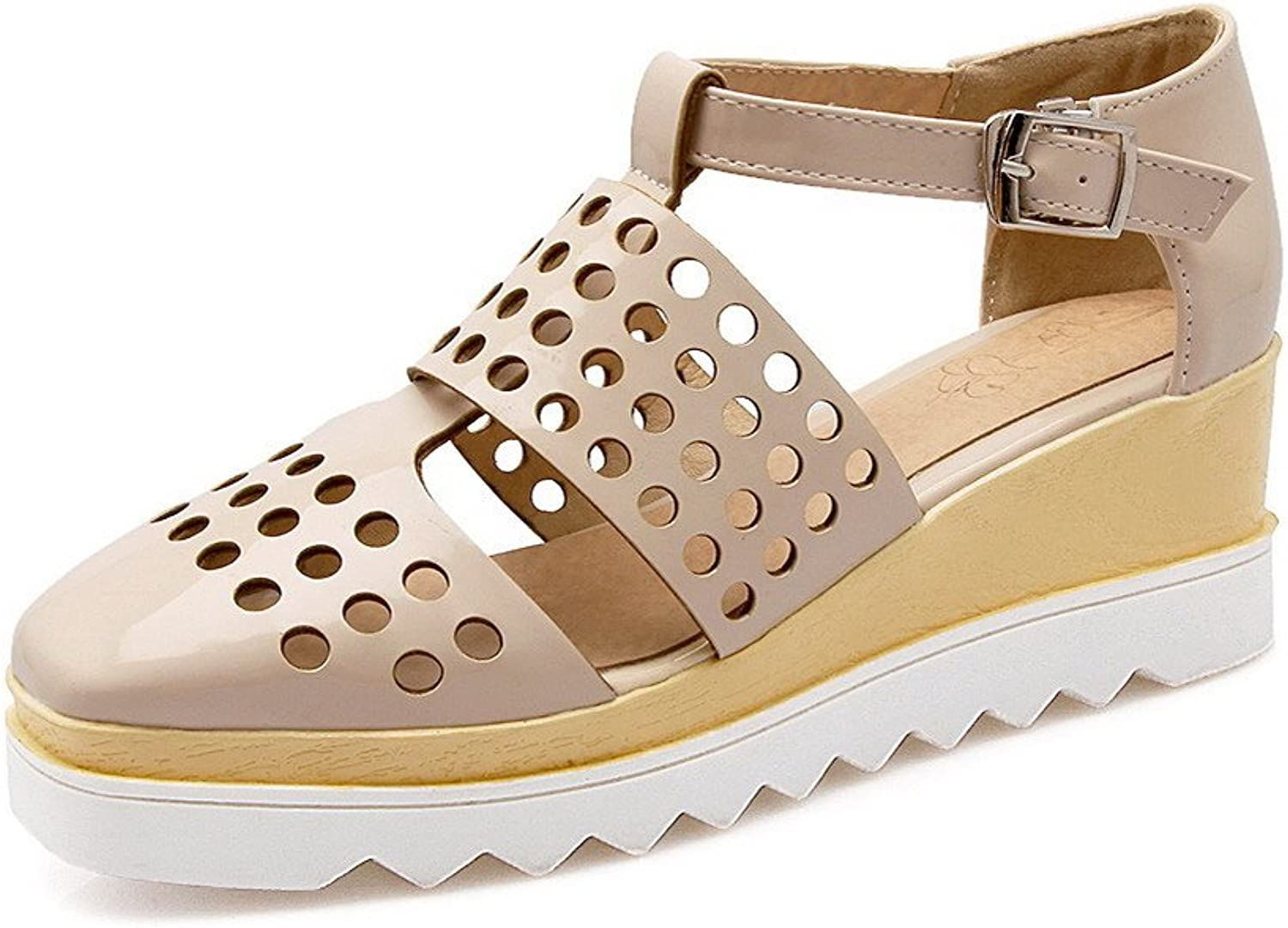 AmoonyFashion Women's Kitten-Heels Solid Buckle Soft Material Closed Toe Wedges-Sandals