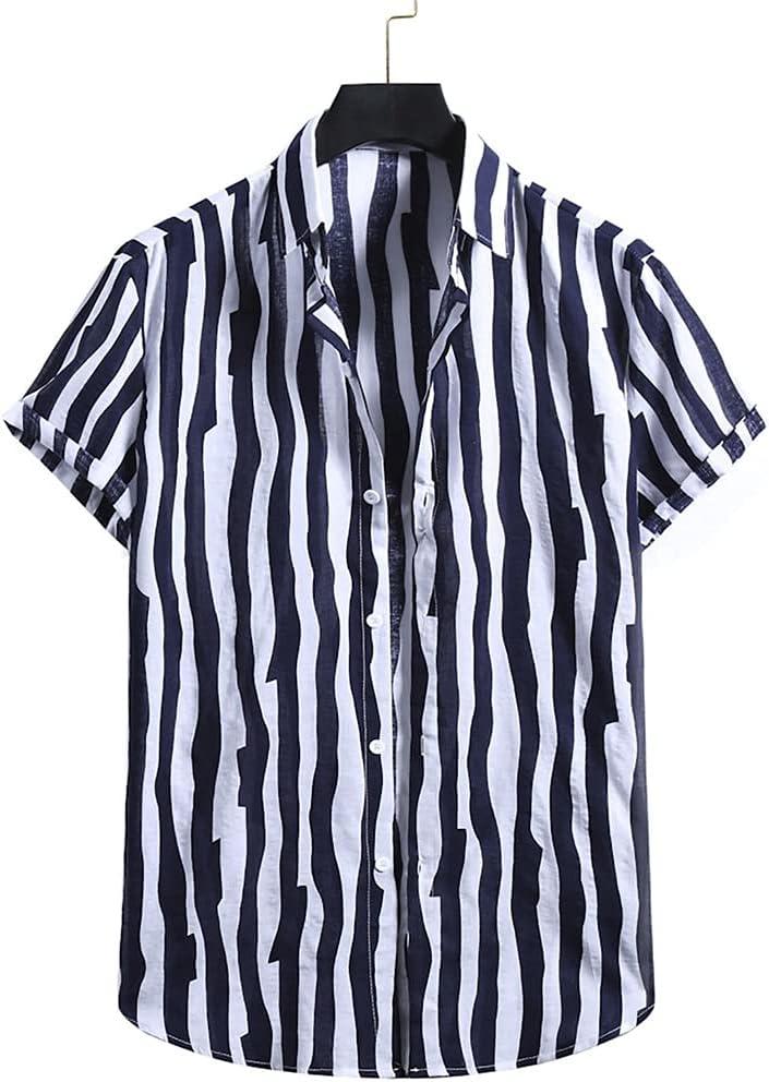 SLATIOM Summer Hawaii Men Shirt Stripes Shor Product latest Loose Vintage Print