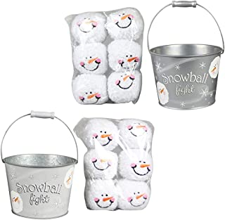 Young's 2 Snowball Fight Tins with 6 Plush Balls Each Silver and Light Silver 97512