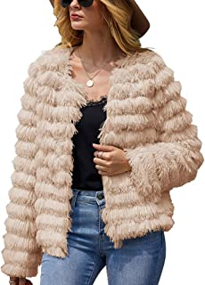 Women Faux Fur Jacket Coat Open Front Fluffy Vintage Parka Shaggy Cardigan