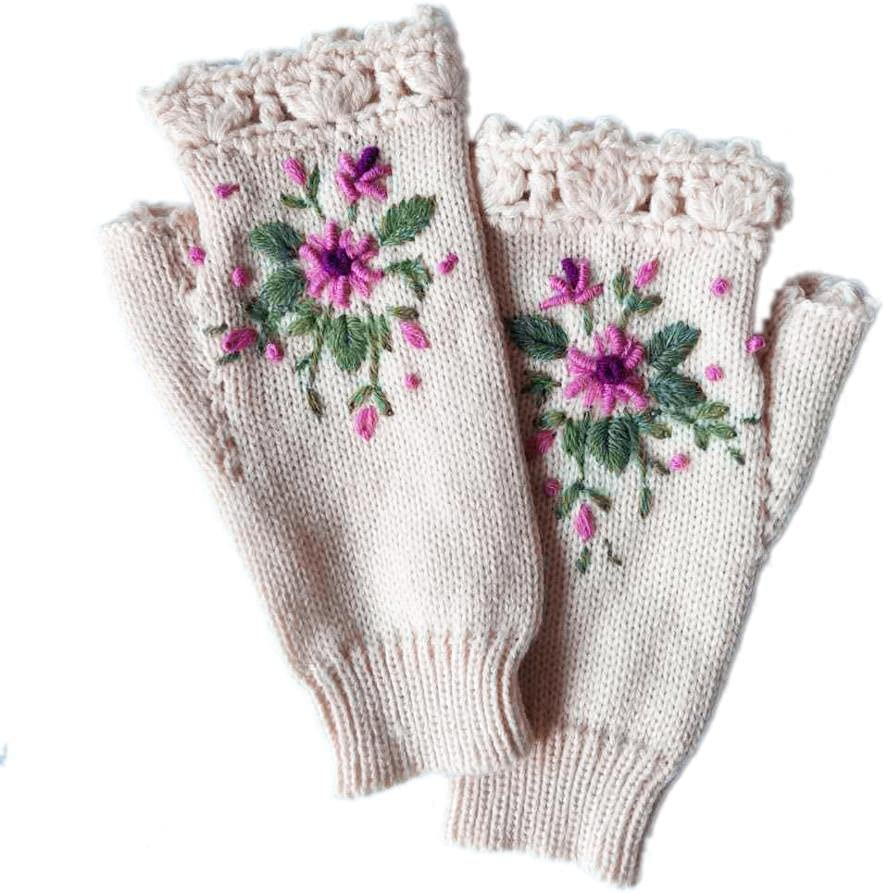 FEIMJLLK Fingerless Gloves for Women 2Pc Autumn Honeybee Flower Embroidery Gloves Women's Winter Warm Gloves Wool Weaving Knitted Gloves