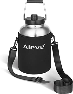 AIEVE Water Bottle Sleeve, Neoprene Travel Holder Bag with Adjustable Shoulder Strap for 1/2, 1 Gallon RTIC Vacuum Insulated Jug, Yeti Rambler Half Gallon Jug(Black)