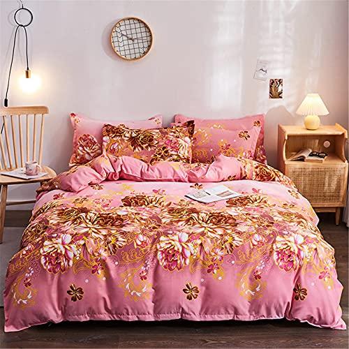 YYSZM Textiles para El Hogar Funda Nórdica Ropa De Cama Patrón De Flores De Algodón Simple Juego De 4 Piezas Agradable para La Piel 180x220cm