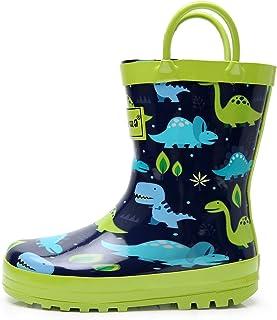 Apakowa Niño Niños Niñas Botas de Lluvia con Estampado de Dinosaurios Zapatos de Goma de Lluvia con Manijas Fáciles para l...
