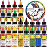 U.S. Cake Supply Deluxe 24 Color Airbrush Cake Color Set - 2 fl. oz. Bottles & Bonus Color Mixing Wheel - Safely Made in the USA product