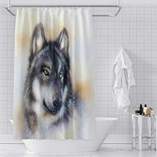 OERJU Wolf Hand Paintng Shower Curtain Black Fierce Wildlife Animals Bath Curtain Waterproof Polyester Fabric Bathroom Dec...