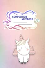 Composition Notebook: A 6x9 Inch Matte Softcover Paperback Notebook Journal With 120 Blank Lined Pages - Cursive Paper-Baby Unicorns and Rainbows