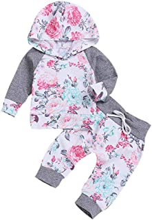 Hirolan Neugeborenes Kapuzenpullover Outfits 2 Stück Babykleidung Säugling Baby Strampler Junge Mädchen Blumen Oberteile Hose Trainingsanzug Jogginganzug Sportanzug