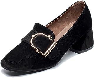 HWF レディースシューズ 夏ハイヒール通気性の浅い口の靴革女性の女性の靴 ( 色 : ブラック , サイズ さいず : 37 )