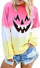 Aniywn Women Long Sleeve Sweatshirt Colorblock Hooded Tops Ladies Halloween Printed Pullover Blouse