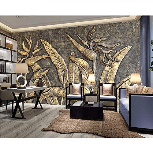 Wuyii wanddecoratie, behang, goudkleurig, motief: paradijsvogel, sculptuur, wand, woonkamer, slaapkamer, 3D behang 250 x 175 cm.