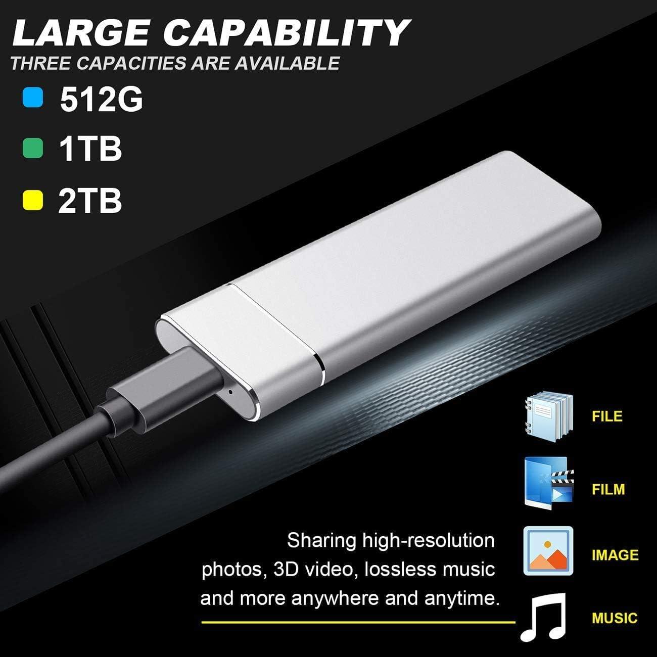 Mac 1tb, Negro Disco Duro Externo 1tb Type C USB 3.1 para PC MacBook Xbox Chromebook