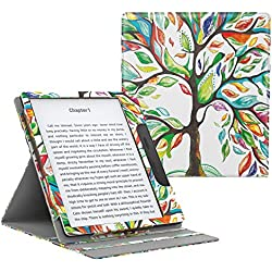 MoKo Case Fits All-New Kindle Oasis (9th and 10th Generation ONLY, 2017 and 2019 Release), Multi Angle Viewing Vertical Flip Cover with Auto Wake/Sleep - Lucky Tree