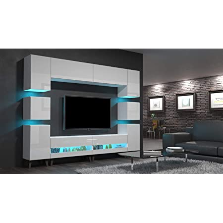 16 Farben Furnitech Patty E2 Schrankwand Mediawand mit Led Beleuchtung Wohnwand Wandschrank M/öbel Wohnzimmer EX2-20B-HG1, LED RGB