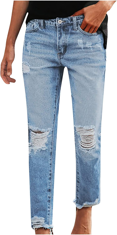 MIVAMIYA Frayed Hem Jeans for Women Ripped Boyfriend Mid Rise Skinny Ankle Denim Jeans Stretch Jeans Slim Fit Jean Pants