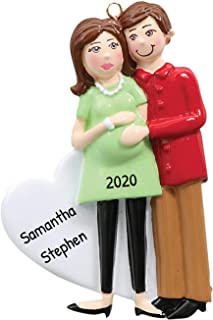 Personalized Pregnant Couple Christmas Tree Ornament 2020 - Brunette Expecting Mom to Be Touch Baby Bump Shower Boy Girl G...