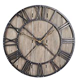 Household Essentials Large Oversized Decorative Rustic Wall Clock, Brown Wood/Black Metal