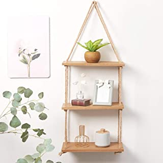 SAND MINE 3 Tier Wood Hanging Shelf, Floating Wall Swing Storage Shelves, Jute Rope Organizer Rack, Wall Shelf Plant Shelf...