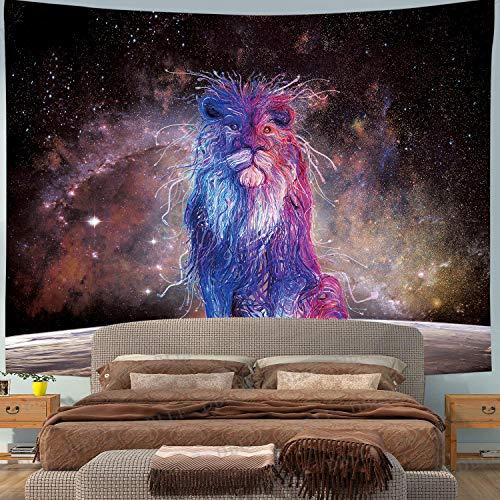Dywan ścienny duży mandala Hippie Aesthetic Tapisserie Lew chusta na ścianę Indie Abstrakt biały biały biały niebieski Galaxy księżyc Moon 200x150 XXL gwiaździste niebo kosmos dekoracja pokój sypialnia plakat