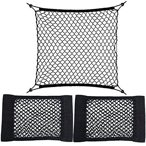AONER (Kit da 3pz) 1* Rete Ferma Bagagli Per Bagagliaio della Macchina 2* Rete Portaoggetti Tasca Oganizer con Velcro