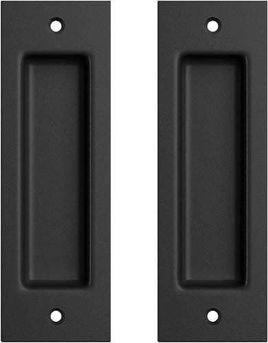 """popular SMARTSTANDARD 2 Pack Flush Pull 6 1/2"""" Matte Black Inset Handle, Recessed Finger Pull outlet sale for Sliding Barn Door, Closet, online Pocket Door outlet online sale"""