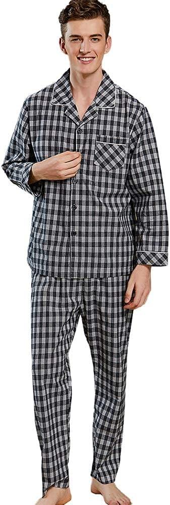 FMOGG Men's Pajama Set Cotton Long Sleeve Plaid Sleepwear Lightweight Button Down Tops and Pants/Bottoms Pj Set Loungewear