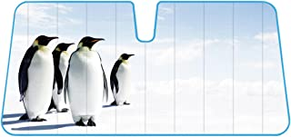 Accordion Style Double Bubble Front Windshield Sunshade - Penguins