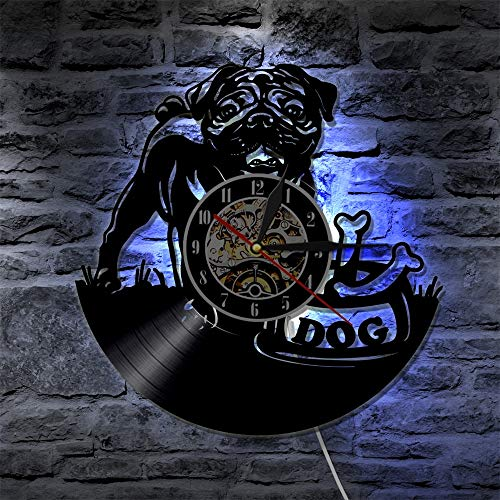 1 niedliche englische Bulldogge moderne LED Kronleuchter Mops Hund Welpe Tier Wanduhr dekorative Beleuchtung Vinyl Schallplatte Wanduhr