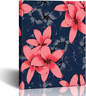 Canvas Prints Wall Art Stretched Framed Flower Pink Pastel On Frangipani Flowers Pattern 8 x 10 Inches Modern Painting Home Decor Wrapped Gallery Artwork