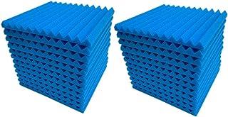 12pcs/24pcs Wedge Acoustic Panels Wall Studio Sound Proof Record Tiles Insulation 12 Triangular Grooves blue 24pcs