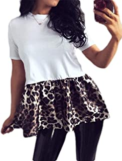 FSSE Women's Casual Short Sleeve Crewneck Leopard Print Stitching Blouse T-Shirt Top White L