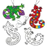 Baker Ross Gecko Suncatchers (Pack of 6) for Kids to Decorate, Arts and Crafts, 12cm, Clear