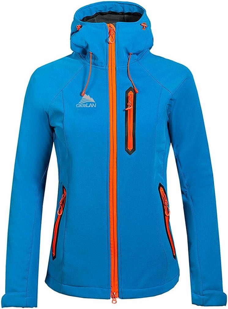 CIKRILAN Women's Outdoor Hooded Soft Shell Fleece Jacket Trekkin