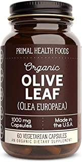 Primal Health Foods | Organic Olive Leaf Capsules (Olea Europaea) | 1,000 mg Vegetarian Capsules