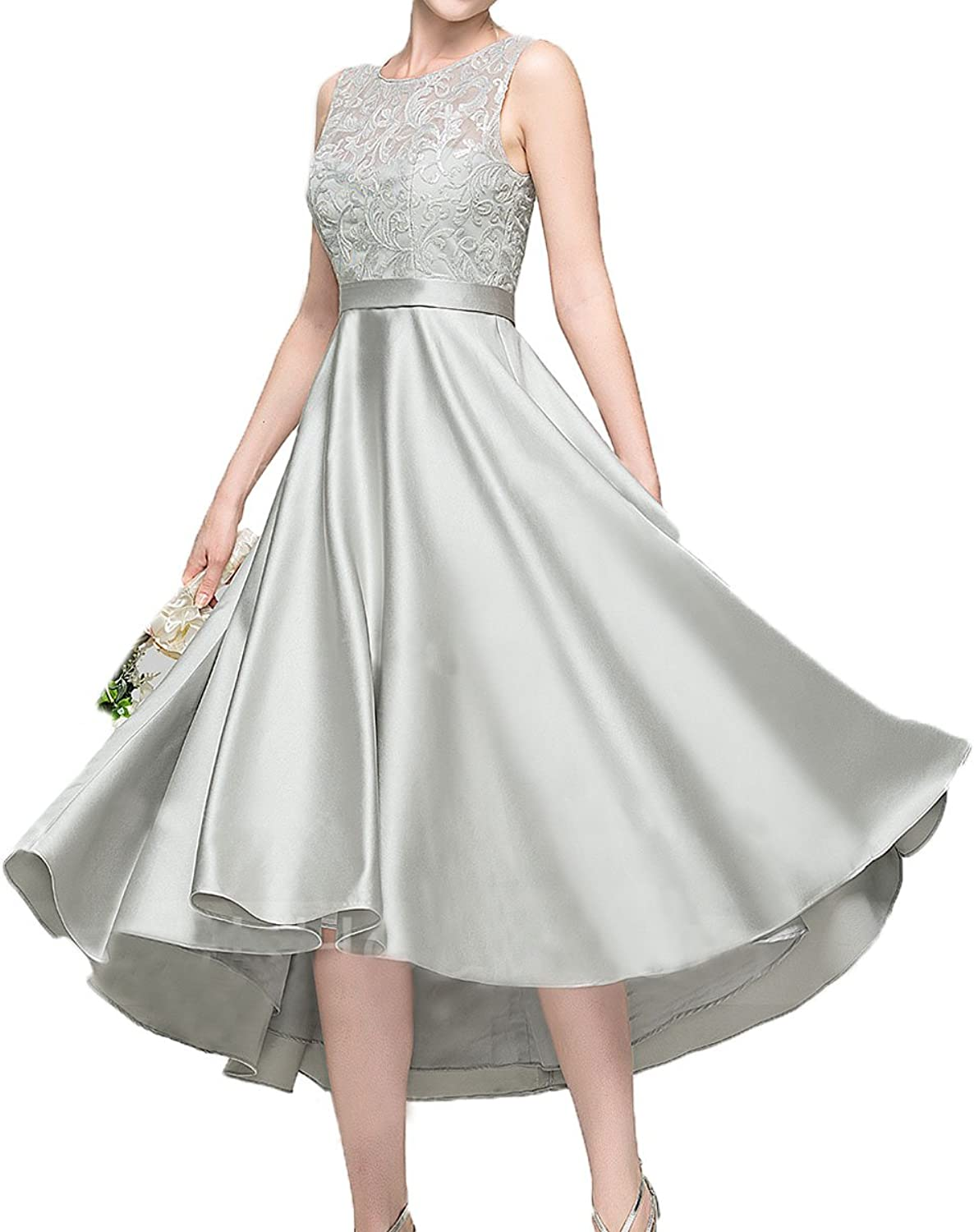 Honey Qiao Crew Satin HiLo Bridesmaid Dresses Lace Tea Length Prom Party Gowns